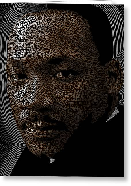 Martin Luther King Mixed Media Greeting Cards - Martin Luther King Word Mosaic Greeting Card by Hans Fleurimont