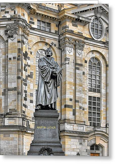 Frauenkirche Greeting Cards - Martin Luther Monument Dresden Greeting Card by Christine Till