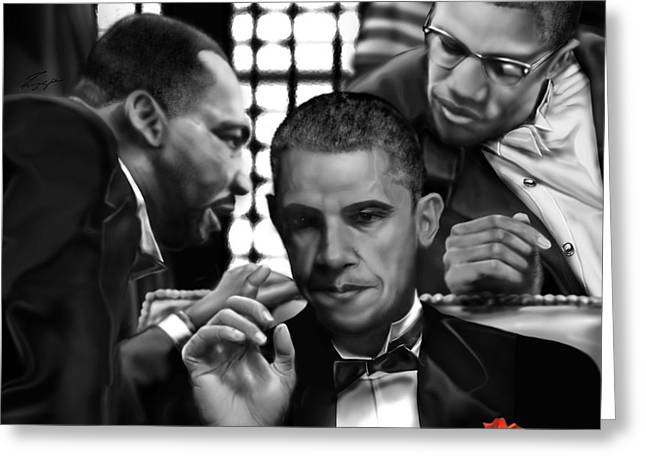 Martin Malcolm Barack And The Red Rose Greeting Card by Reggie Duffie
