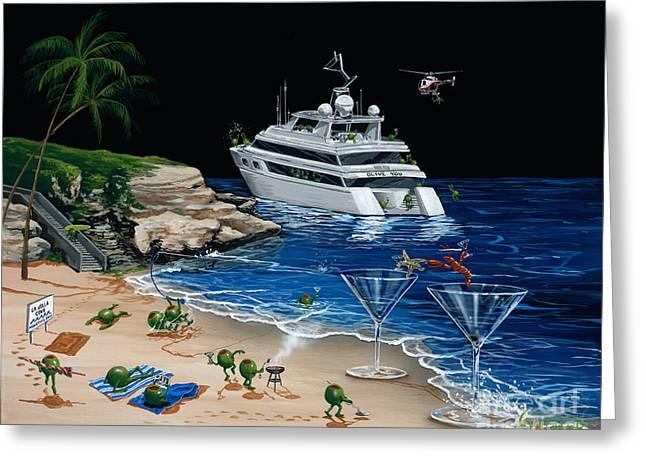 Sunbathing Greeting Cards - Martini Cove La Jolla Greeting Card by Michael Godard
