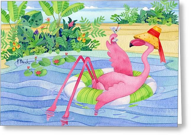 Coastal Birds Greeting Cards - Martini Float Flamingo Greeting Card by Paul Brent