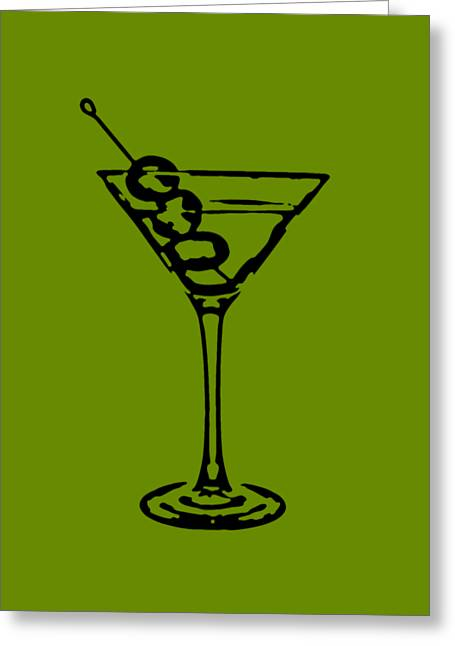 Line Drawing Greeting Cards - Martini Glass Tee Greeting Card by Edward Fielding