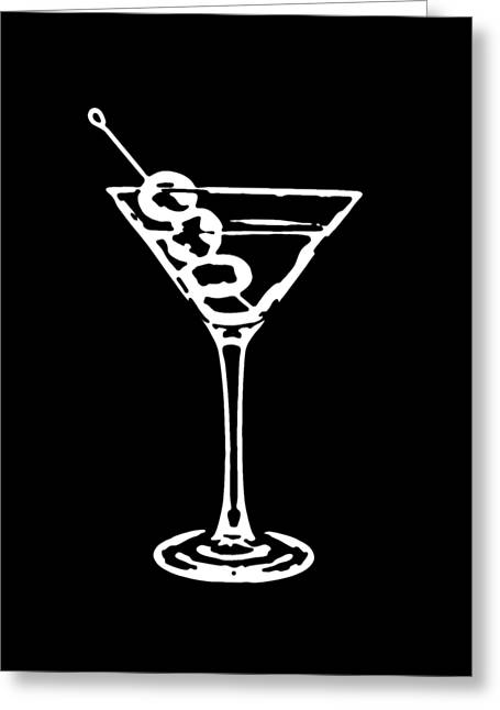 Line Drawing Greeting Cards - Martini Glass Tee White Greeting Card by Edward Fielding