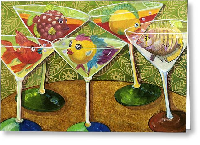Night Out Paintings Greeting Cards - Martini Madness Greeting Card by Linda Kegley