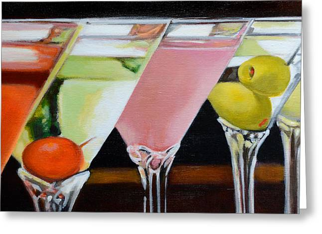 Glass Bottle Greeting Cards - Martini Time Greeting Card by Robyn Chapman Holland