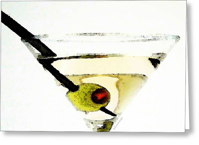 Olives Greeting Cards - Martini With Green Olive Greeting Card by Sharon Cummings