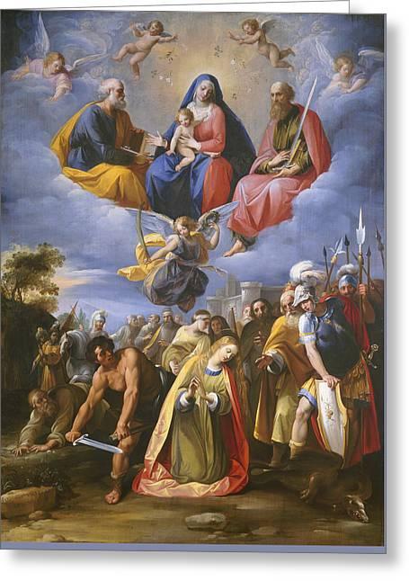 Prayer Warrior Greeting Cards - Martyrdom Of Saint Margaret Greeting Card by Giuseppe Cesari - Called Cavaliere D