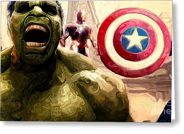 Captain America Paintings Greeting Cards - Marvel Avengers Hulk Movie Art Signed Prints available at laartwork.com Coupon Code KODAK Greeting Card by Leon Jimenez