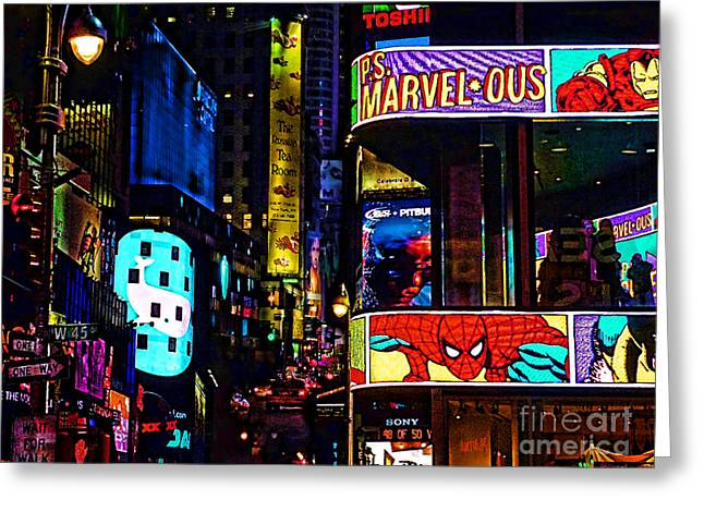 Times Square Digital Greeting Cards - Marvelous Greeting Card by Jeff Breiman