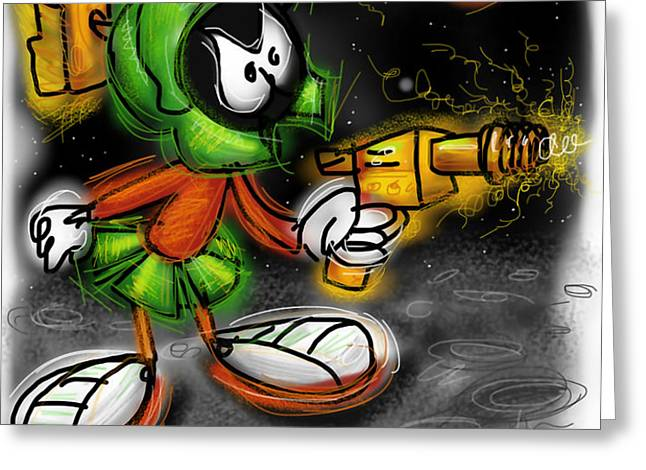 Marvin the Martian Greeting Card by Russell Pierce