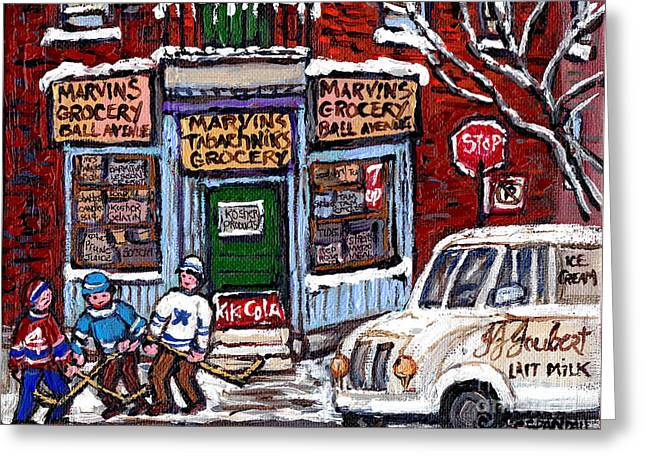 Hockey Paintings Greeting Cards - Marvins And Tabachnicks Grocery With J J Joubert Milk Truck Ball Ave Park Ex Montreal Memories Art Greeting Card by Carole Spandau