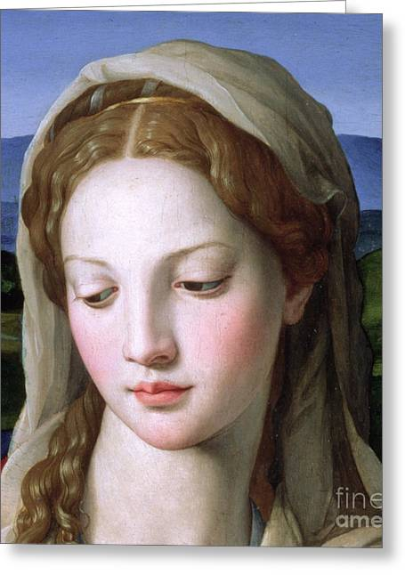 Religious Greeting Cards - Mary Greeting Card by Agnolo Bronzino