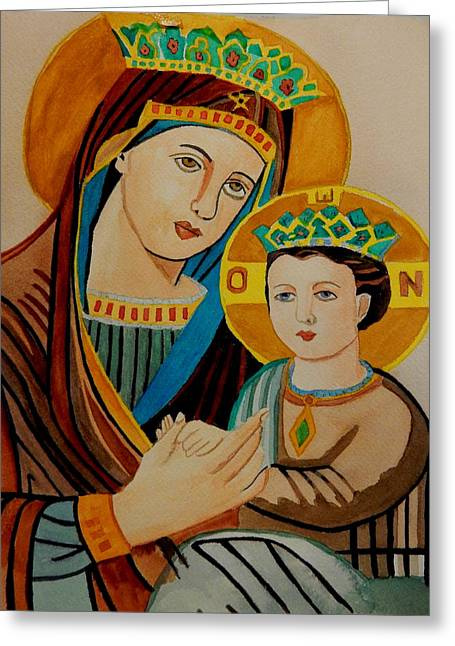 Child Jesus Greeting Cards - Mary and a young Jesus Greeting Card by Betty-Anne McDonald
