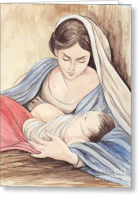 Christ Child Mixed Media Greeting Cards - Mary and Child Greeting Card by Morgan Fitzsimons