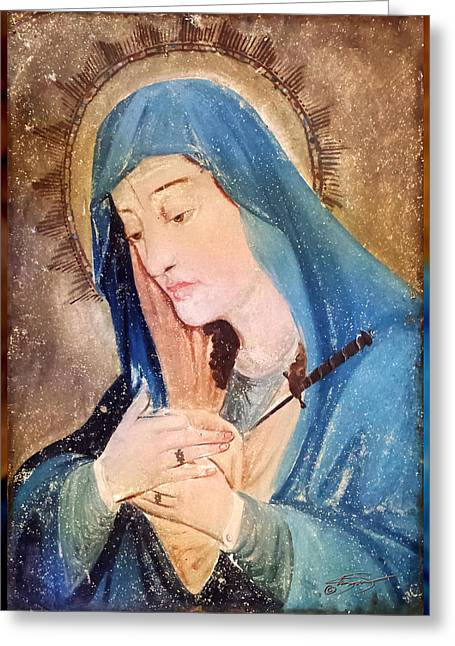 Praying To Mother Mary Greeting Cards - Mary Antique Painting  Greeting Card by Kandis Glasgow