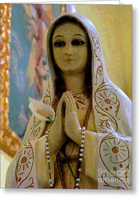 Rosary Greeting Cards - Mary by Darian Day Greeting Card by Olden Mexico