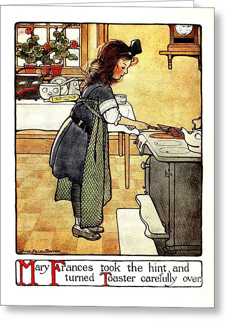 Toaster Drawings Greeting Cards - Mary Frances making toast Greeting Card by Heidi De Leeuw