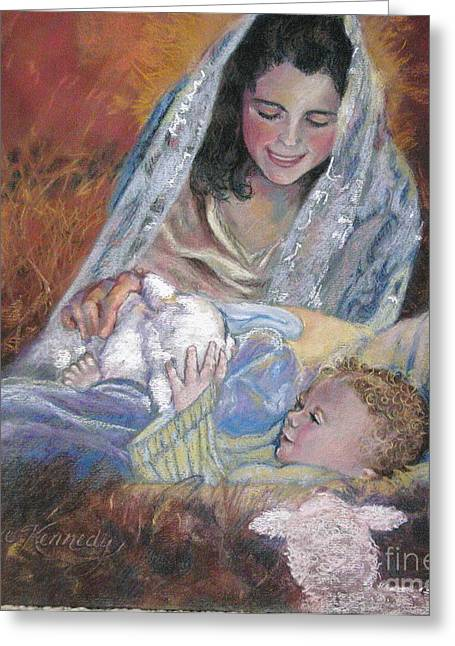 Jesus Pastels Greeting Cards - Mary Had a LIttle Lamb Greeting Card by Reveille Kennedy