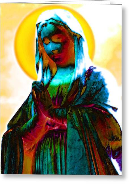 Praying Hands Greeting Cards - Mary In Bright Robes Greeting Card by Kathy Franklin
