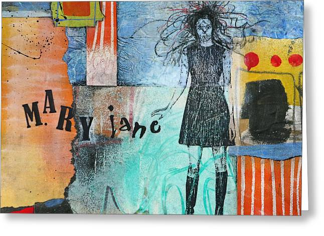 Abstract Images Mixed Media Greeting Cards - Mary Jane Greeting Card by Laura  Lein-Svencner
