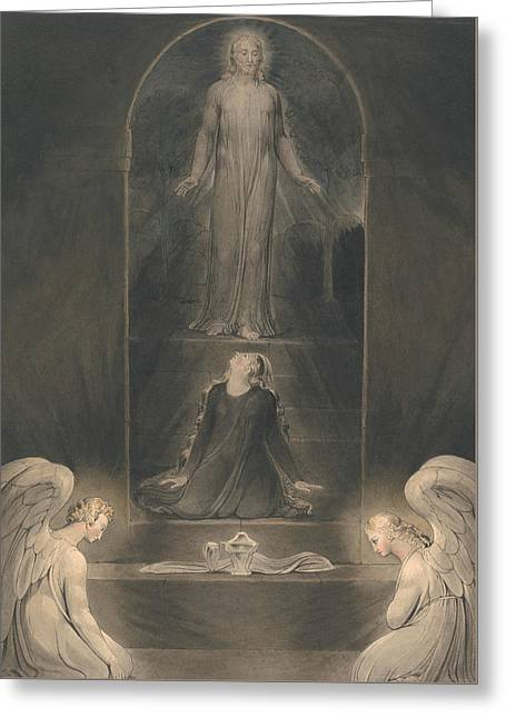 Mary Magdalen At The Sepulchre Greeting Card by William Blake