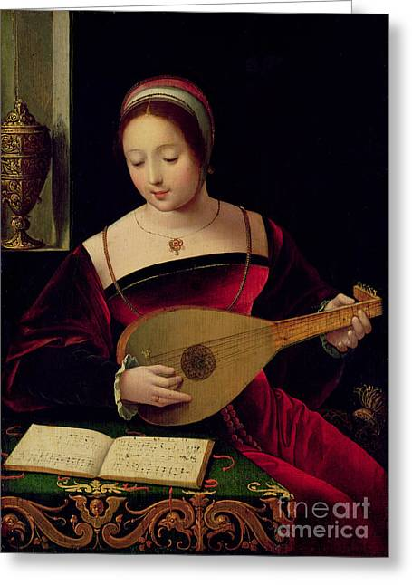 Mary Paintings Greeting Cards - Mary Magdalene Playing the Lute Greeting Card by Master of the Female Half Lengths