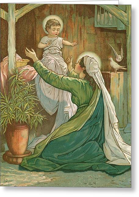 Mary Playing With Jesus Greeting Card by John Lawson