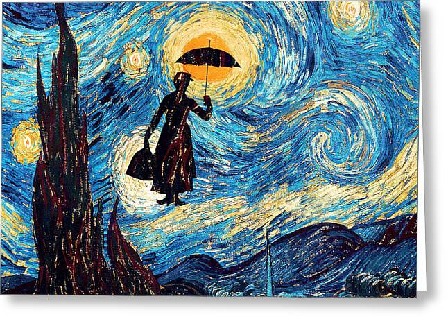 Fandom Greeting Cards - Mary Poppins Starry Night oil painting Greeting Card by three Second