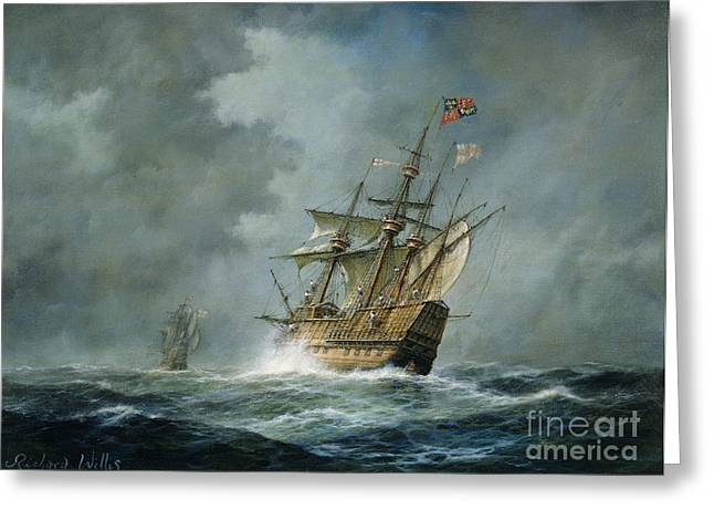 Sky Sea Greeting Cards - Mary Rose  Greeting Card by Richard Willis