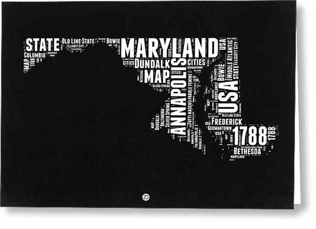 Annapolis Greeting Cards - Maryland Black and White Map Greeting Card by Naxart Studio