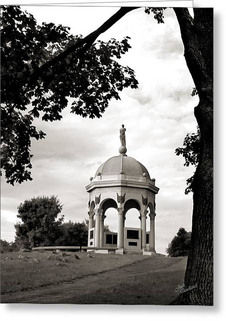 Maryland Monument Black And White Greeting Card by Judi Quelland