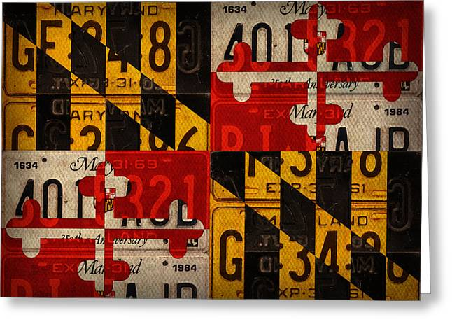 Maryland Greeting Cards - Maryland State Flag Recycled Vintage License Plate Art Greeting Card by Design Turnpike