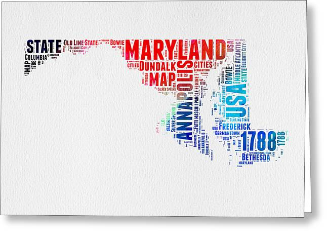 4th July Greeting Cards - Maryland Watercolor Word Cloud  Greeting Card by Naxart Studio