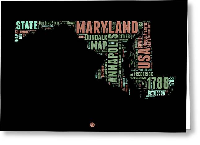 4th July Greeting Cards - Maryland Word Cloud 1 Greeting Card by Naxart Studio