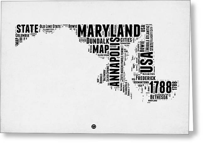 4th July Greeting Cards - Maryland Word Cloud 2 Greeting Card by Naxart Studio