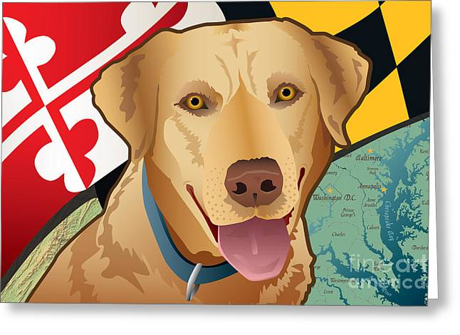 Golden Lab Greeting Cards - Maryland Yellow Lab Greeting Card by Joe Barsin