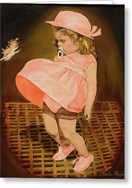 Pink Cheeks Greeting Cards - Marylin Greeting Card by Nicole MARBAISE