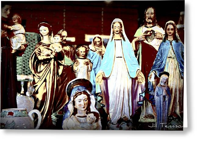 Religious Greeting Cards - Marys Annual Christmas Party Greeting Card by Jill Tennison