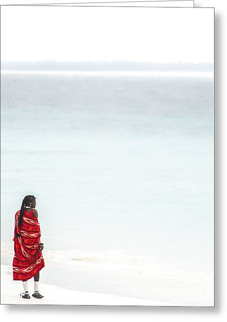 African Heritage Greeting Cards - Masai on the Beach Greeting Card by Jacques Jacobsz