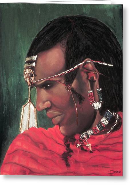 Atlantis Pastels Greeting Cards - Masai Warrior Greeting Card by Ione Citrin