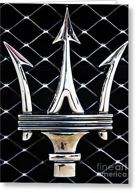 Car Emblems Greeting Cards - Maserati Emblem Greeting Card by Tom Griffithe