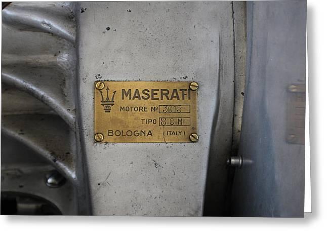 8cm Greeting Cards - Maserati Motore 3015 Greeting Card by Robert Phelan