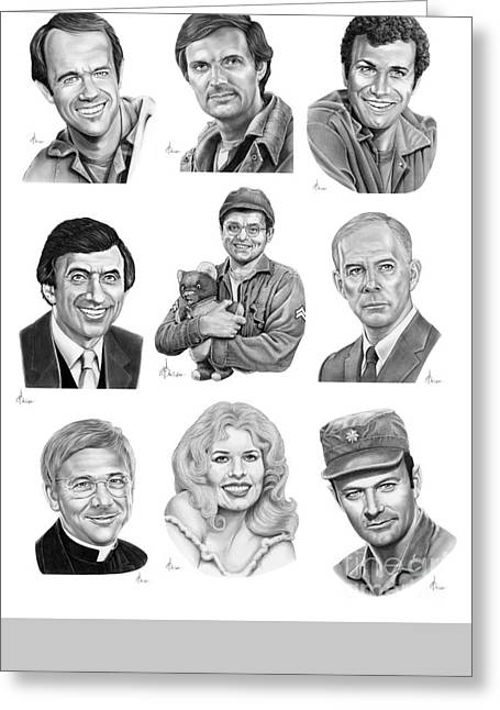 Character Portraits Greeting Cards - Mash 4077 Greeting Card by Murphy Elliott