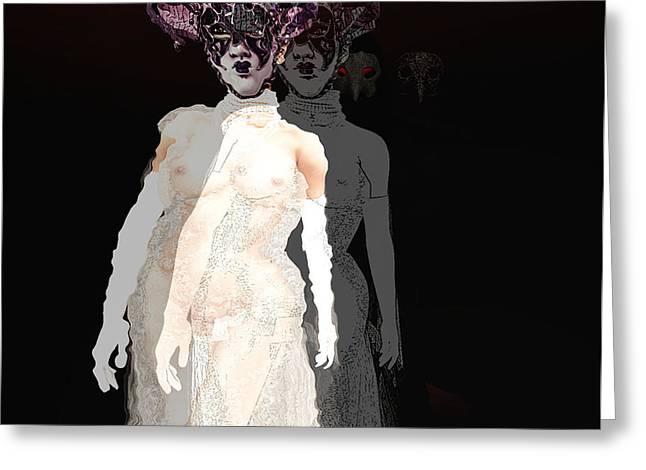 Ball Gown Greeting Cards - Mask-02 Greeting Card by Theda Tammas