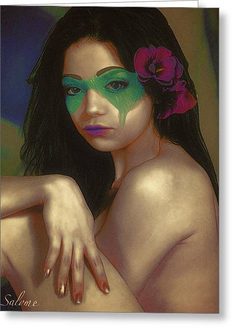 Mask 3 Greeting Card by Salome Hooper