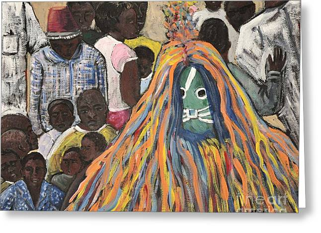 Mask Ceremony Burkina Faso Greeting Card by Reb Frost