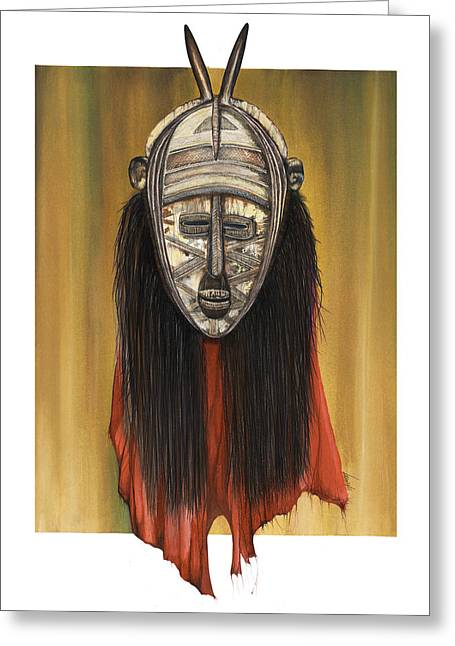 Spirt Greeting Cards - Mask I untitled Greeting Card by Anthony Burks Sr