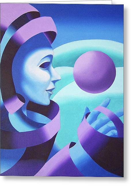 Spheres Paintings Greeting Cards - Mask in the Ether Greeting Card by Mark Webster