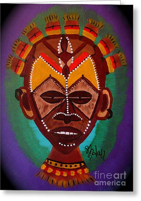 African Inspired Art Greeting Cards - Mask IV Greeting Card by Sheila J Hall