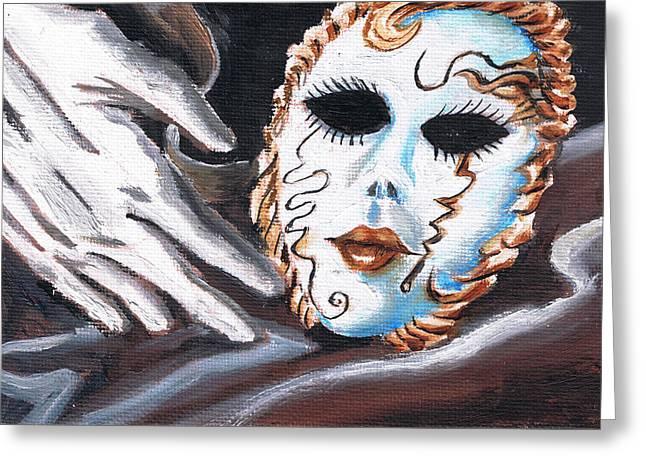 Mask N Glove Greeting Card by Demian Legg